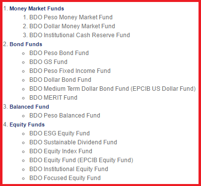 types of BDO UITF funds